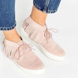 ASOS DRAMA Suede Fringe Sneakers SZ 7